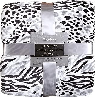 Qbedding Inc. Luxury Collection Ultra Soft Plush Fleece Lightweight All-Season Throw/Bed Blanket (Twin, Black Leopard)