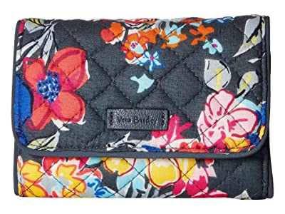 Vera Bradley Iconic RFID Riley Compact Wallet (Pretty Posies) Wallet Handbags