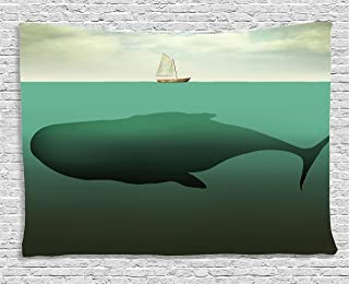 Ambesonne Fantasy Tapestry, Surreal Giant Whale in The Middle of Sea and Little Sailboat on The Surface Print, Wide Wall Hanging for Bedroom Living Room Dorm, 60