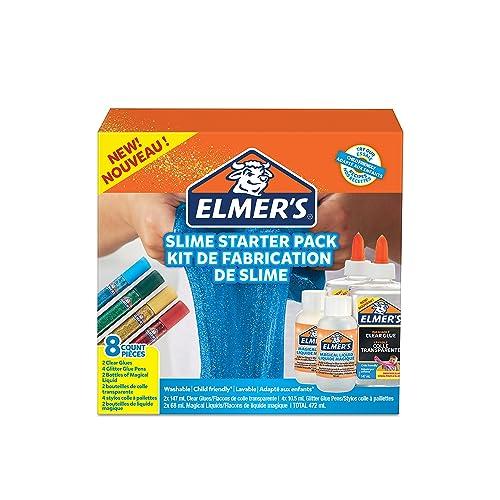 Elmer's Kit de base pour slime, colle transparente PVA, stylos colle pailletée & activateur magique pour slime en solution liquide, lot de 8 produits