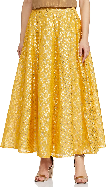 Indya Yellow Chanderi Floral Maxi Skirt