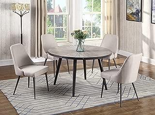 Best Master Furniture DX800 Marley 5 Pcs Round Dining Set Beige