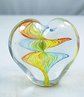 Tripact Inc M Design Art Handcraft Glass Rainbow Wave Art Heart Glass Paperweight
