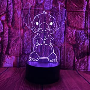 Cute Children Anime Animals Stitch Lilo and Stitch Cartoon Kawaii Figure Action Lovely 3D LED Optical Illusion Room Decor Sleep Lamp with Remote 7 Colors Night Light Birthday Xmas Gift for Child Kids