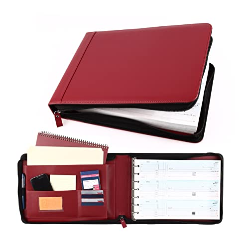 Business Check 7 Ring Binder for 3-Up Checks PU Leather Portfolio Checkbook Cover with Zipper (RED)