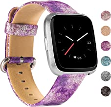 Wearlizer Bling Wide Leather Band Compatible with Fitbit Versa/Versa Lite/Versa SE/Versa 2,Vintage Genuine Soft Replacement Women Large Small Strap(Glitter Purple)