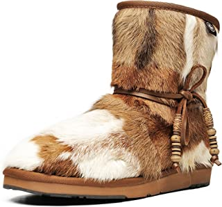 Aumu Women Tradional Wooden Bead String Sheepskin Fur Shearling Leather Stylish Knee High Winter Snow Boots