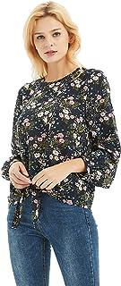 BASIC MODEL Women's Long Sleeve Chiffon Blouse Tie Front Casual Tops