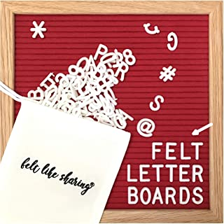 Red Felt Letter Board 10x10 Inches. Changeable Letter Boards Include 300 3/4 Inch White Plastic Letters and Oak Frame.