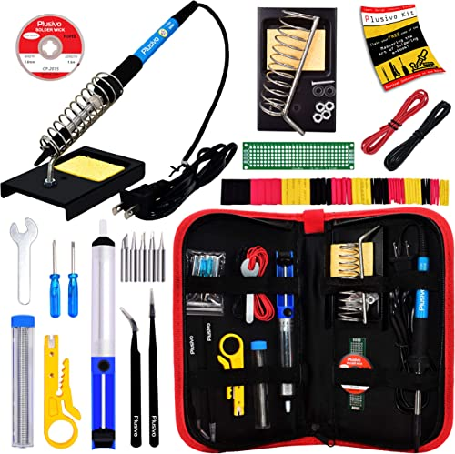 Soldering Iron Kit - Soldering Iron 60 W Adjustable Temperature, Solder Wire, Tweezers, Soldering Iron Stand, Solderi...