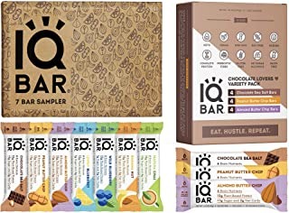 IQBAR Keto Protein Bars Bundle (19 Bars) - Gluten-free, Dairy-free Low Carb Protein Bars and Vegan Snacks - 12 Low Carb Ch...