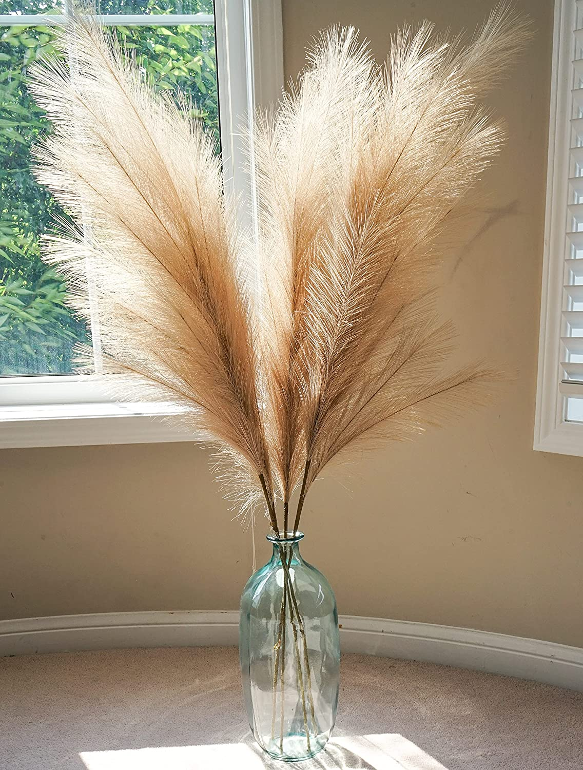 Boho Wish Faux Pampas Grass Set of 3Pcs - 44 Inches Tall Non-Shedding, Floor and Office Vase Filling-Fluffy Floral Branches for Wedding Decor- Home Kitchen and Bedroom Table Decoration