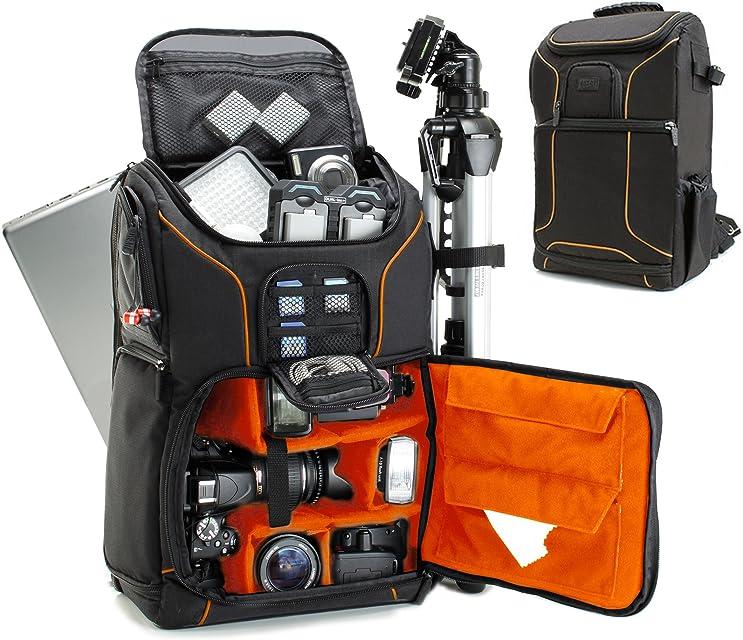 USA GEAR Mochila Completa para Cámara DSLR Funda Resistente al Agua Compartimento para Portátil y divisores para Meter un Tripode Objetivos Compatible con Canon Nikon Sony y Muchas más - Naranja