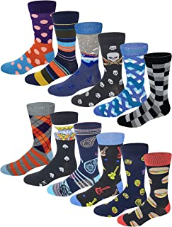 12 Pairs / 6 Pairs Men Colorful Fashion Design Dress socks 10-13
