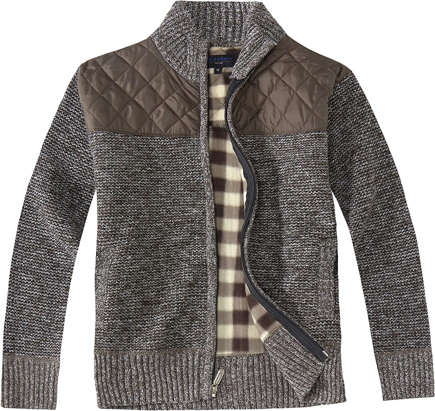 Gioberti Boys Knitted Full Zip Cardigan Sweater with Soft Brushed Flannel Lining