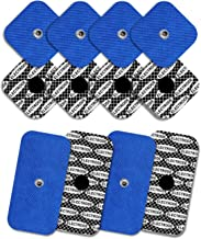 Tenspad Silver - 8 elettrodi con 1 SNAP, 50 x 50 mm, e 4 elettrodi con 1 SNAP, 50 x 100 mm, compatibili con Compex, con motivo in argento sulla superficie conduttrice