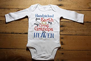 f85f29611 Embroidered Bodysuit Handpicked for Earth by my Great Grandpa in Heaven Baby  Shower Gift Hand Picked