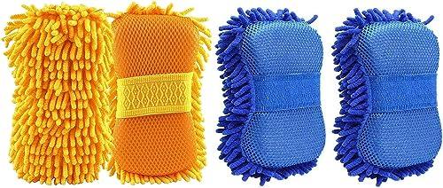 ZANTEX Presents Sponge Microfiber for Car & Motorbike Cleaning & Washing Professional Duster (4 Pc)