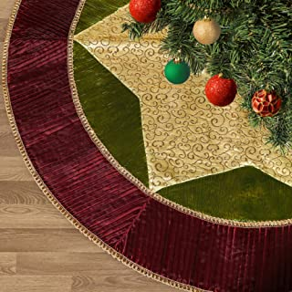 Valery Madelyn 48 inch Traditional Red Green Gold Christmas Tree Skirt with Ruffle Trim Border, Themed with Christmas Ornaments (Not Included)