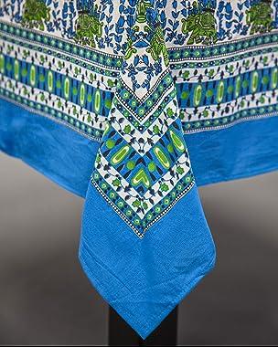 "Indian Print Square Cotton Tablecloth 60"" x 60"" Cerulean Blue"