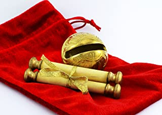 Santa's Sleigh Bells Real Brass Christmas Polar Sleigh Bell & Real Miniature Scroll with Believe Message Express from Santa and His Elves at