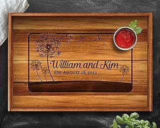 Dandelion, Dandelion Wedding, Ottoman Tray, Teak, Dandelion Wall Art, Dandelion Flower, Wood Tray, Wedding Tray, Desk Tray, Sofa Tray, Serving Tray, Engraved Tray, Serving Tray