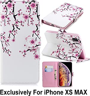 Pelotek; iPhone Xs Max Cherry Blossom Case, iPhone Xs Max Colorful Wallet Case   Elegant Pink White Floral Design Pattern Luxury Wallet   Strong Inner Case Credit/ID Card Money Holder Slots (Cherry)