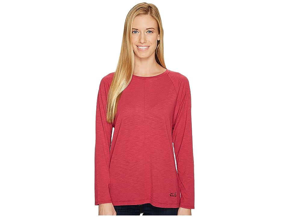 Jack Wolfskin Travel Long Sleeve T-Shirt (Dark Ruby) Women