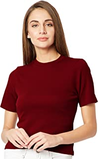 Miss Chase Women's Maroon Ribbed Top