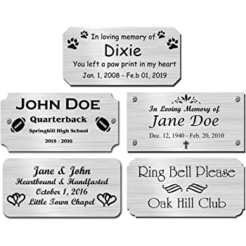"2"" H x 4"" W, Silver Finish Solid Copper Nameplate Personalized Custom Laser Engraved Label Art Tag for Frames Notched Square or Round Corners Made in USA"