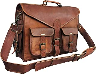 DHK Laptop Messenger Bag 17.6 Inch, Tocode Water Resistant Vintage Canvas Leather Shoulder Bag, Durable Computer Bags Business Briefcases Satchel Bag Work Bags for Men and Women, Coffee