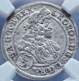 1702 AT Austria Austrian Oppeln Silver Coin 3 Kreuzer AU-58 NGC