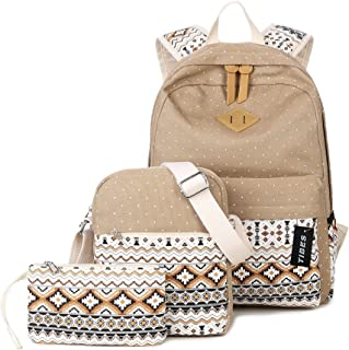 TIBES Lightweight 3 Pieces Backpack Set Casual School Backpack Khaki