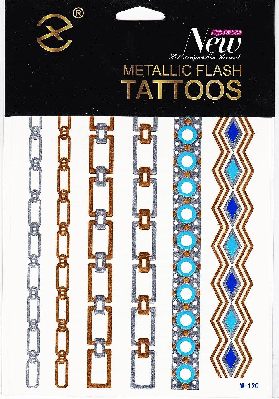 めまいがヘッドレス評価するフラッシュタトゥーシール GOLD Flash Tattoo ゴールドやシルバーに輝くブレスレット アンクレット