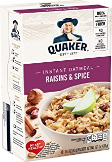 Quaker Instant Oatmeal Raisin& Spice, 10-Count 1.51oz Packets (Pack of 4) by Quaker Oatmeal [Foods]
