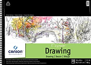 Canson Artist Series 1557 C A Grain Drawing Paper Pad, Top Wire Bound, 111 Pound, 18 x 24 Inch, 20 Sheets