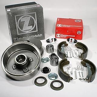 Zimmermann Bremstrommeln + Bremsbacken mit ABS Ring + Zubehör + Radzylinder + Radlager für hinten/die Hinterachse