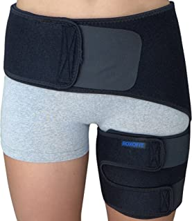 Hip Brace - Groin Support Wrap for Sciatica Pain Relief Thigh Hamstring Quadriceps Injuries Hip Arthritis Joint Pain Hip Flexor Pulled Muscles - Best Compression Sciatic SI Belt for Men Women