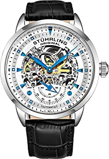 Stuhrling Original Mens Automatic Watch Skeleton Watches for Men - Black Leather Watch Strap Mechanical Watch Silver Executive Watch Collection