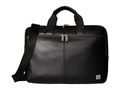 KNOMO London Brompton Classic Newbury Single Zip Brief (Black) Briefcase Bags