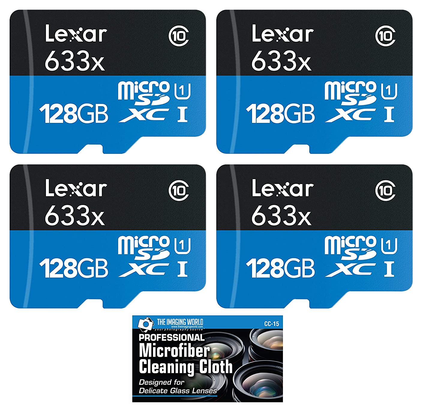 4-Pack Lexar 128GB Class 10 633x microSDXC (up to 95MB/s) Memory Card with Cloth