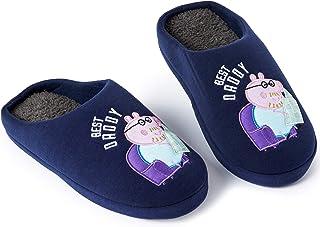 Peppa Pig Chausson Homme Best Daddy, Pantoufles Hiver pour Intérieur Extérieur, Semelles Antidérapantes, Cadeau Homme Orig...