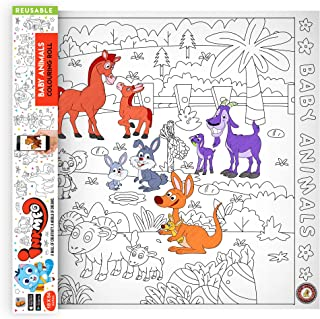 Inkmeo Baby Animals Reusable Wall Colouring Roll - Tells 50 Animal and Their Baby Names - Size 18? x 84? Augmented Reality...