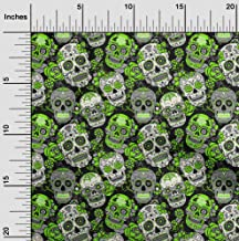 oneOone Cotton Cambric Green Fabric Floral & Skull Dress Material Fabric Print Fabric by The Yard 42 Inch Wide