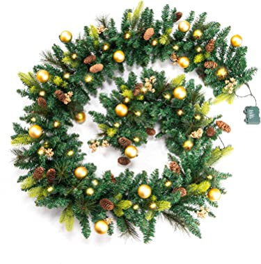 9FT Christmas Garland - Garland with 50 Warm Light,Pine Mixed Decorative Garland with Battery Operated for Christmas, Decor G