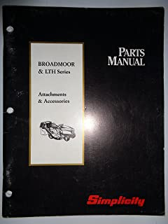 Simplicity *Broadmoor and LTH Series Tractor ATTACHMENTS and ACCESSORIES Parts Catalog Book Manual 2/94