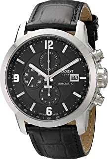 Tissot Men's T055.427.16.057.00 'PRC 200' Black Dial Black Leather Strap Chronograph Swiss Automatic Watch