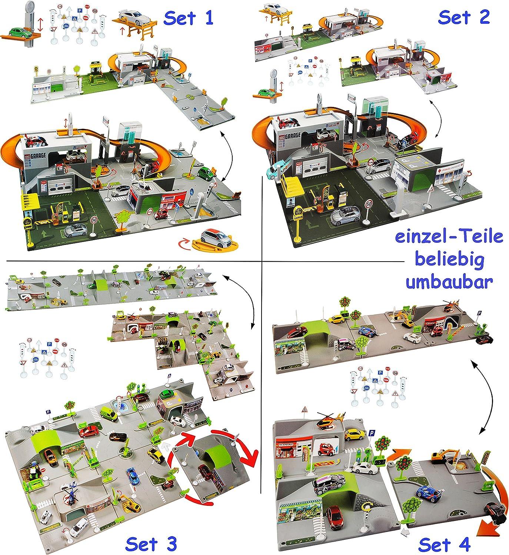 Alles-meine  GmbH Set  3-D Spielmatte -  Straße UMBAUBAR  - 3 Teile mit Brücke - 1 64 - Tunnel - Tankstelle + 3 Fahrzeuge - Feuerwehrstation - Baustelle - Helikopterlandeplat.. B06X3XF76Q Nutzen Sie Materialien voll aus | Queensland