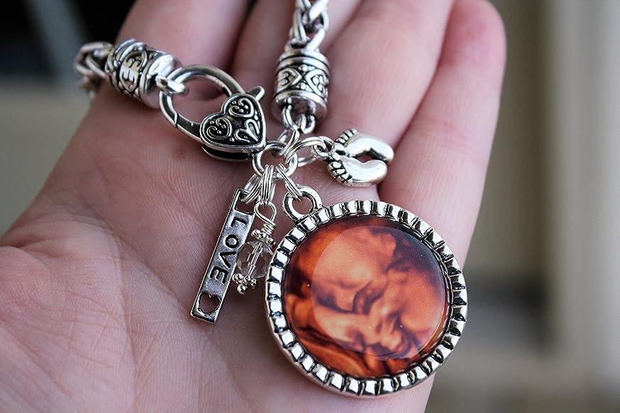 Custom sonogram personal photo jewelry bracelet, necklace or keychain new baby mom sonogram photo keepsake unique birth announcement jewelry