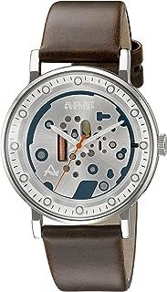August Steiner Men's Steampunk Dress Watch -Dial with Orange Second Hand on Genuine Leather Strap